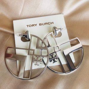 Tory Burch Silver Chevron logo Earrings